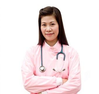 Successful refreshing health looking at camera medic