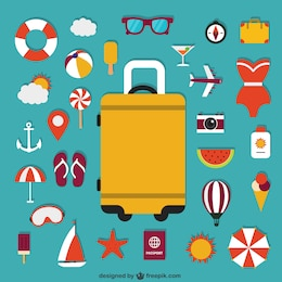 Suitcase and summer icons