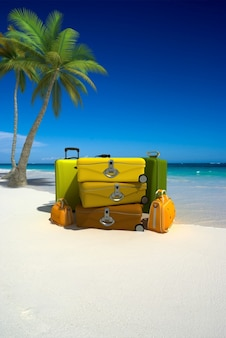 Suitcases set in the beach
