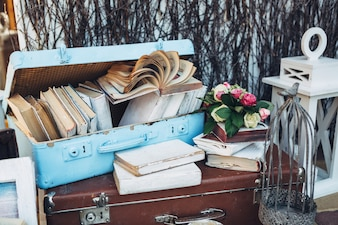 Suitcases with books flowers and birdcage
