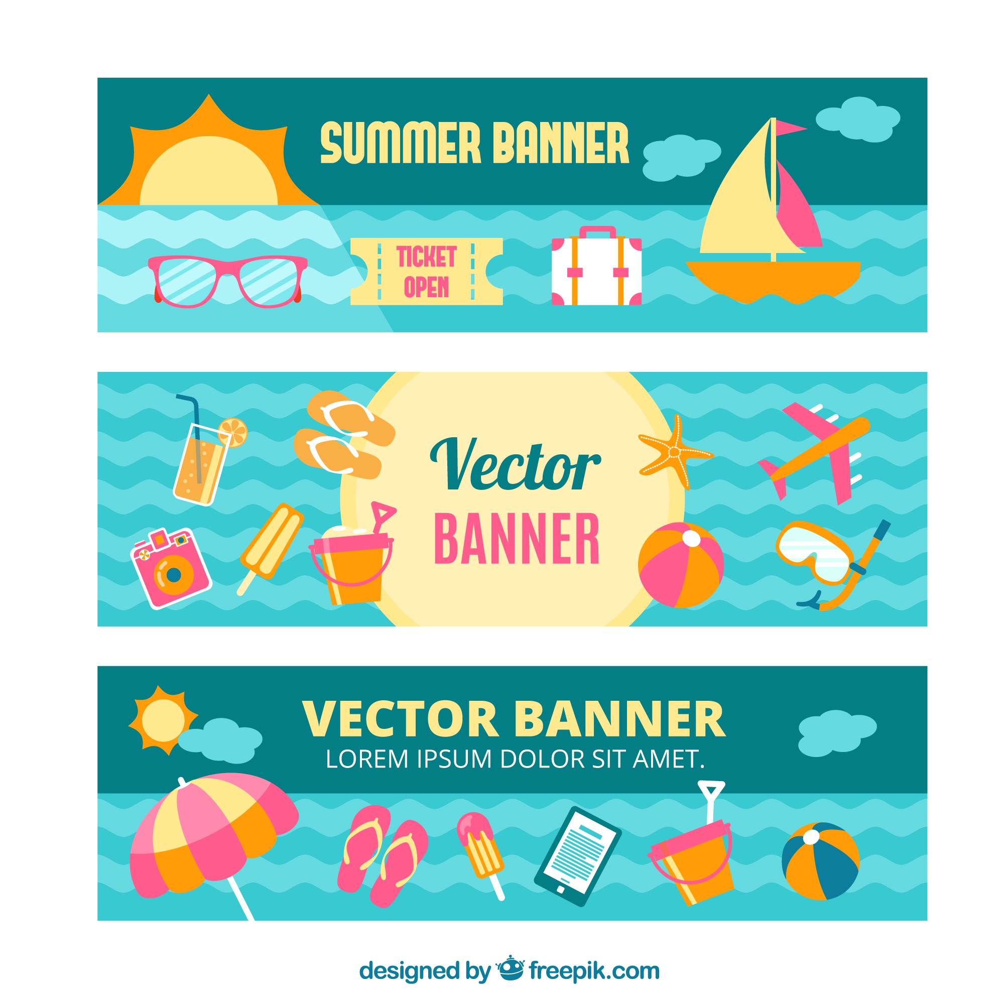 Summer  banners set