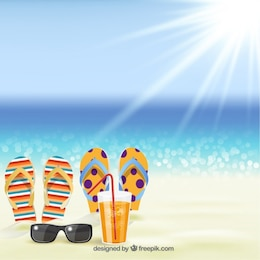 Summer background with sandals on the beach