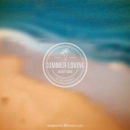 Summer badge on blurred background