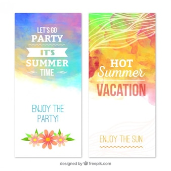 Summer banners in watercolor style