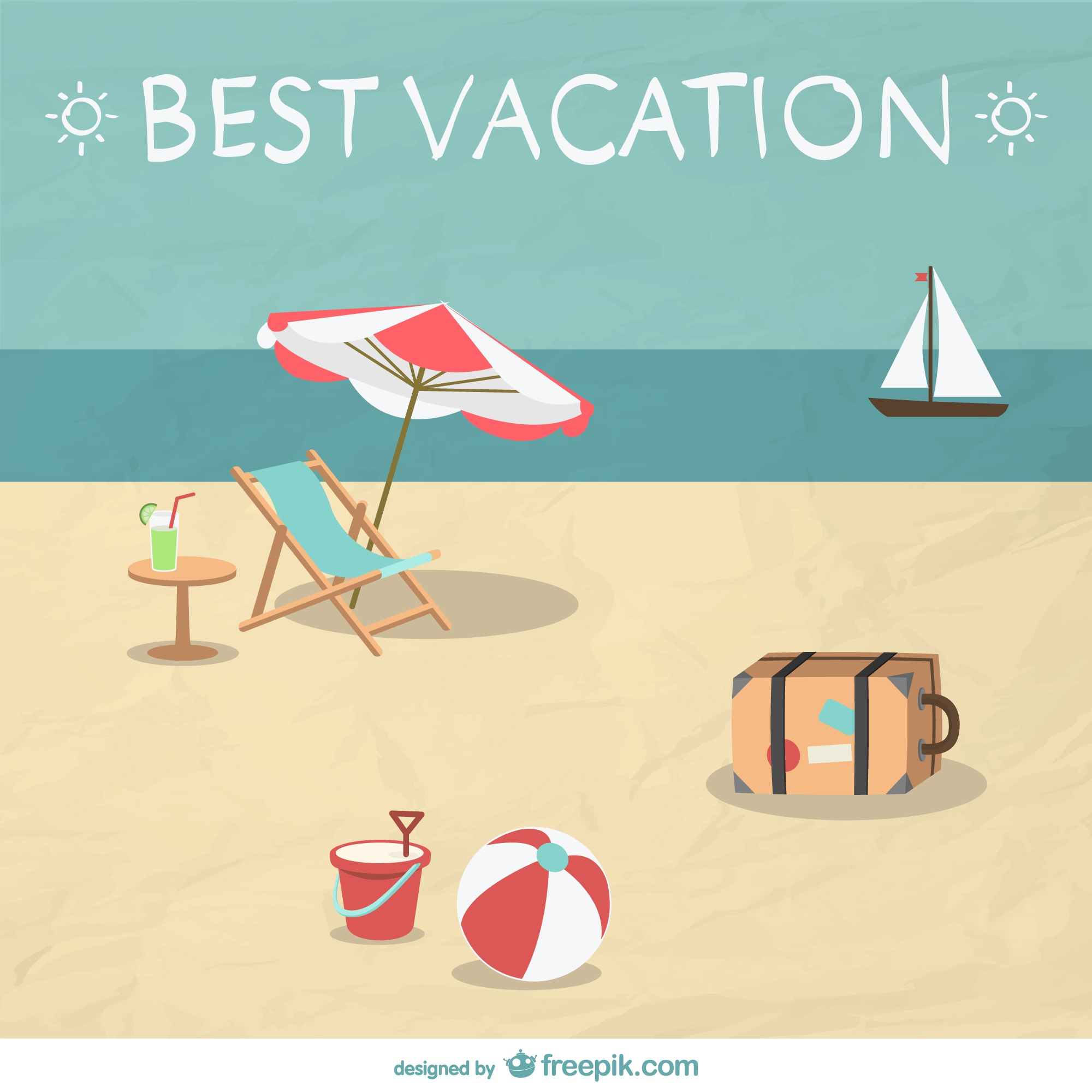 Summer beach vacation illustration