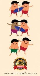 Summer cartoon characters vector pack