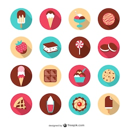 Summer desserts vector set
