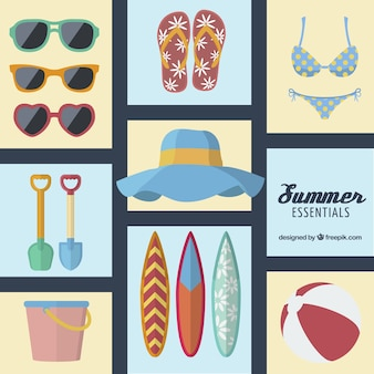 Summer essentials icons