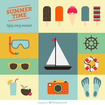 Summer holiday flat designs