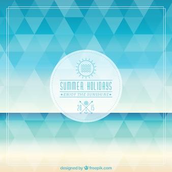 Summer holidays badge on polygonal background