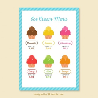 Summer ice-cream menu
