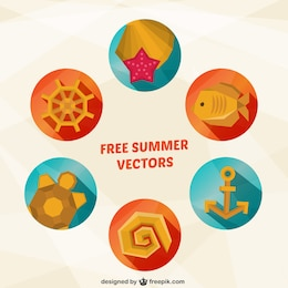 Summer icons in geometrical style