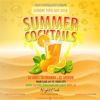 Summer orange juice drink vector