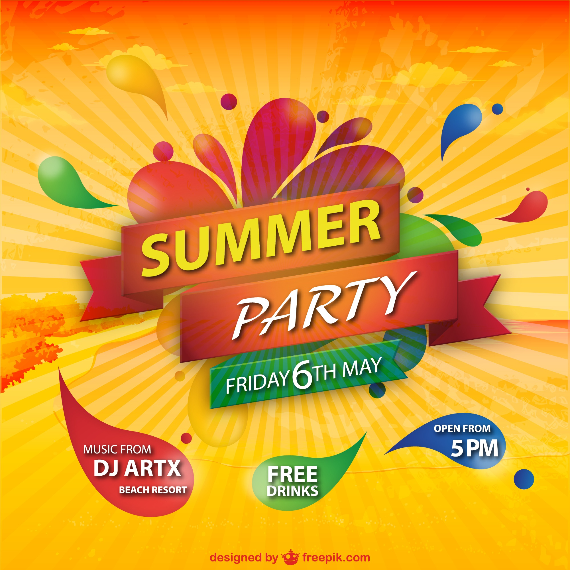 Summer party sunburst colorful background