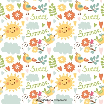 Summer pattern with cute illustrations