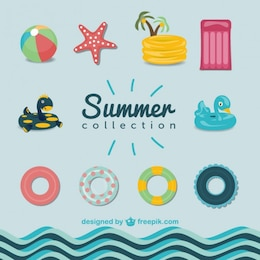 Summer pool graphics set