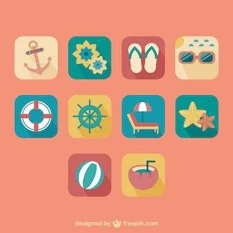 Summer retro icons set