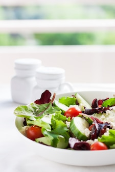 Summer salad with lettuce leaves