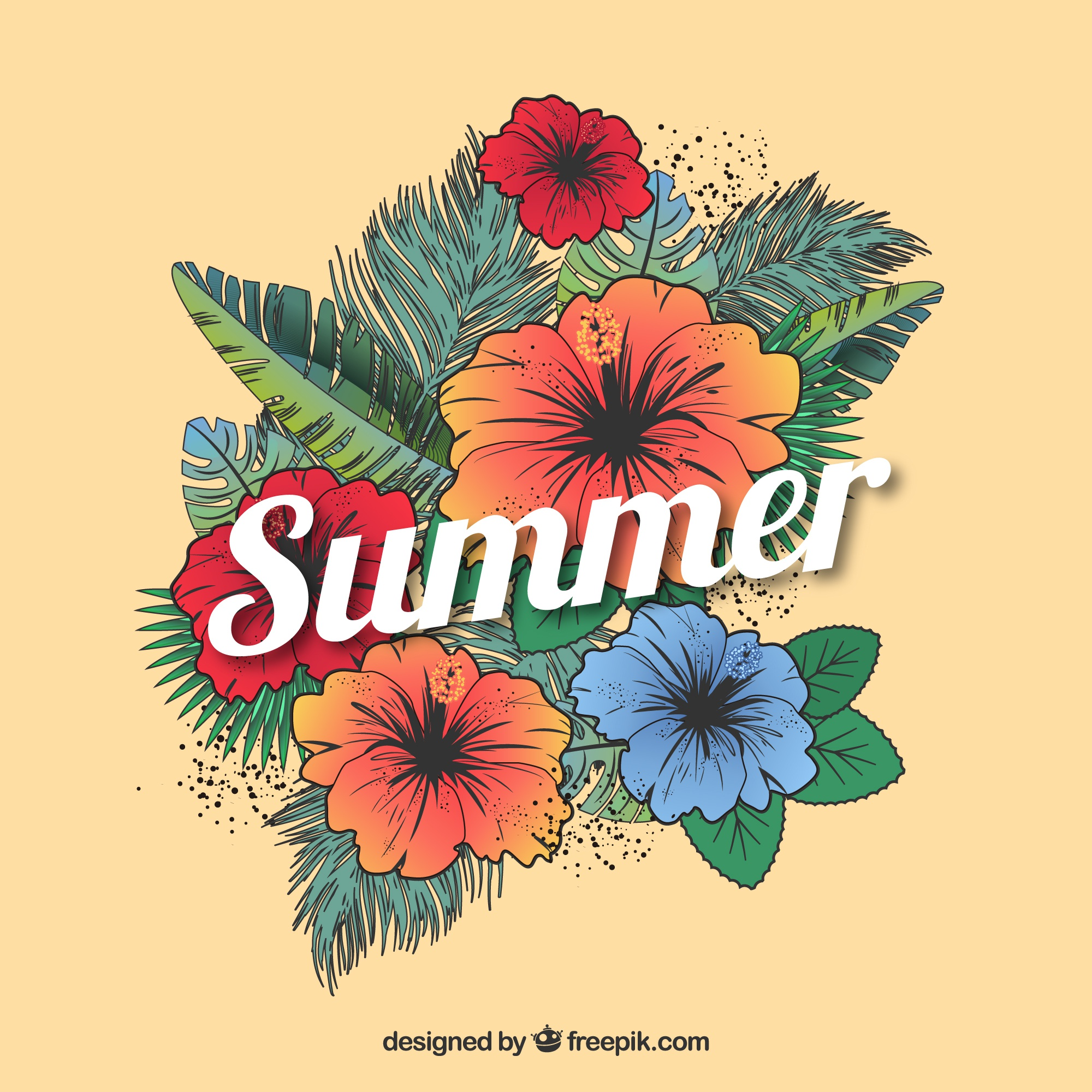 Summer season floral background
