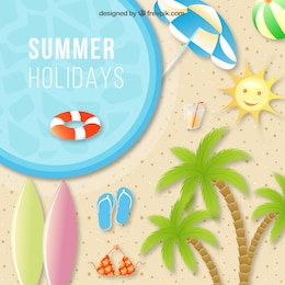 Summer swimming pool vector background