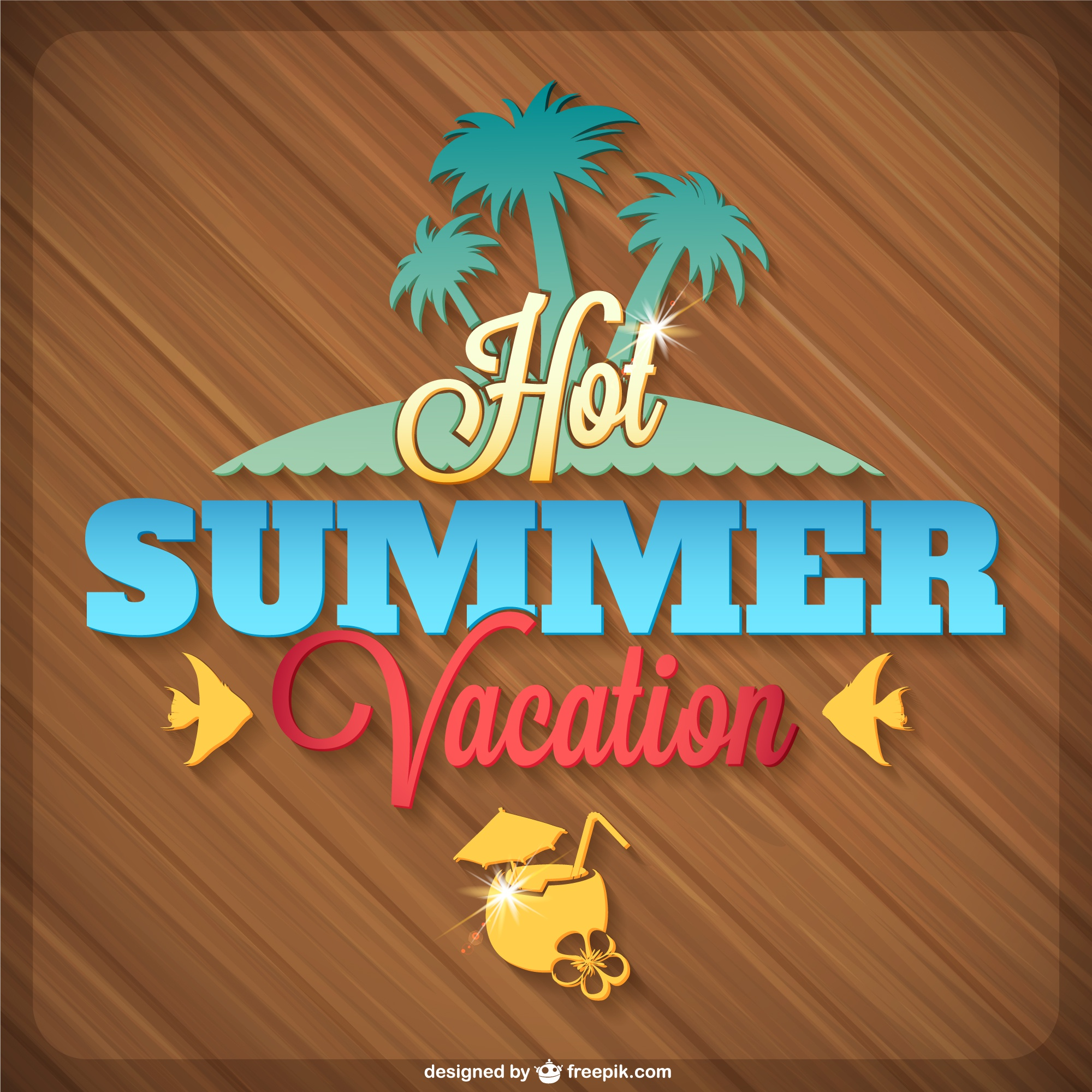 Summer tropical island vector graphics