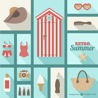 Summer vector collage