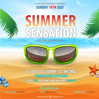 Summer vector party poster template