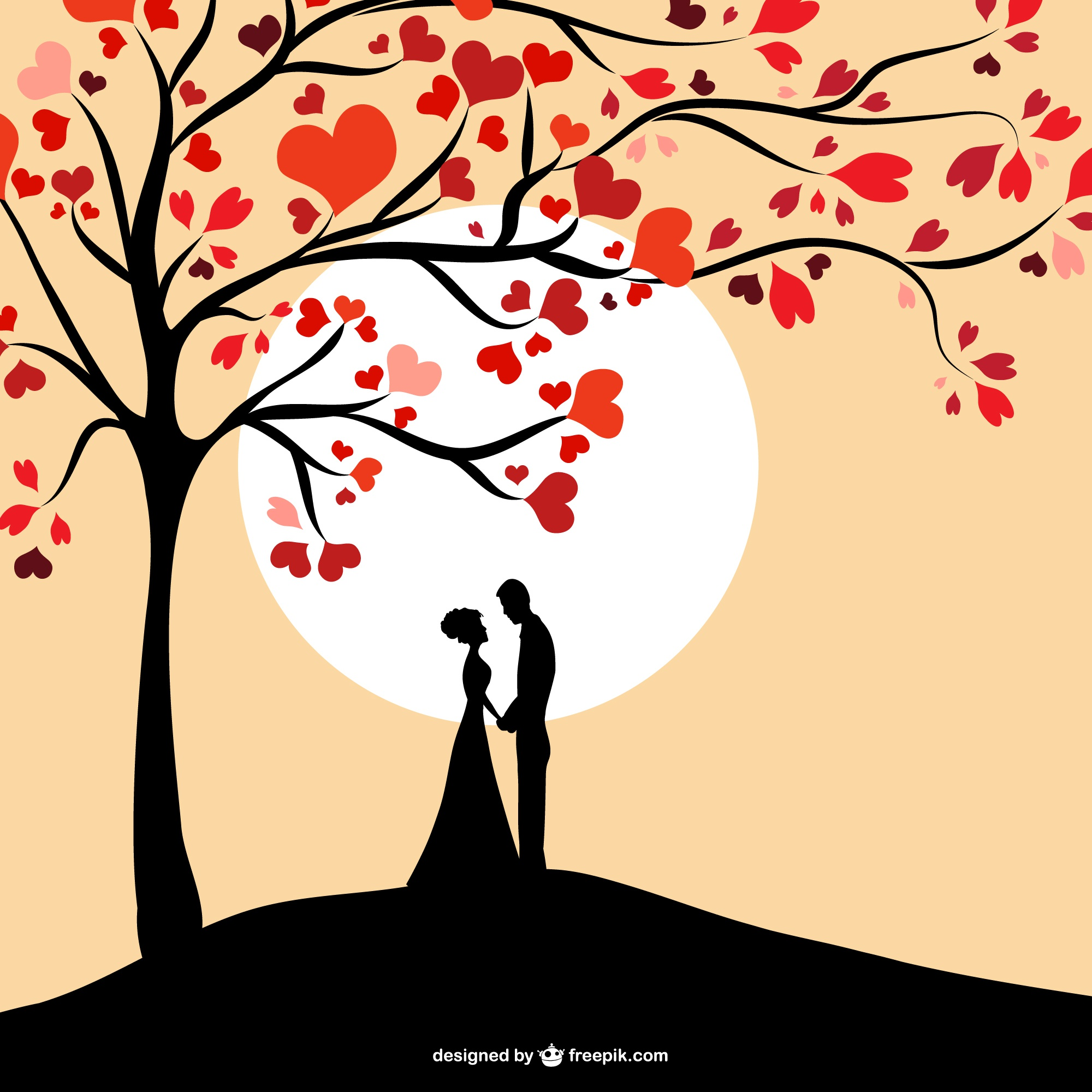 Sun couple silhouette design