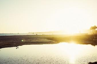 Sun light beach view