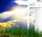 Sun shining with an open door