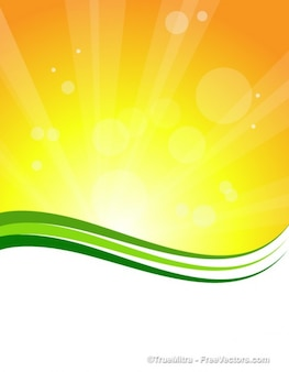 Sunburst background with green lines