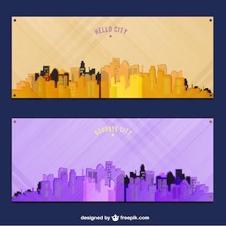 Sunrise and twilight of city