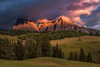 Sunset at Alpe di Siusi in the Dolomites mountains