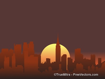Sunset city silhouettes background vector set