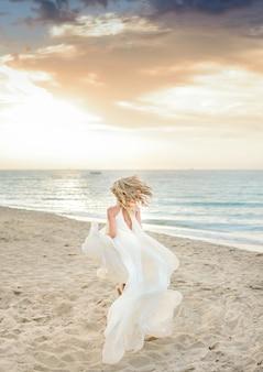 Sunset occasion white beach sand