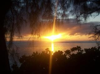 sunset on rarotonga