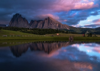 Sunset reflections in the Dolomites