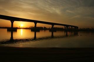 Sunset   sea  bridge