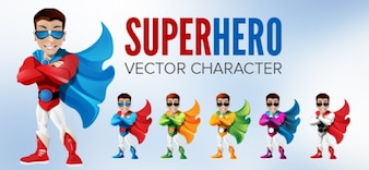 Superhero character with cap. Different colors.