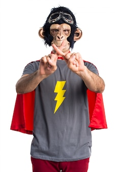 Superhero monkey man doing NO gesture
