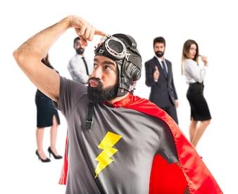 Superhero thinking over white background