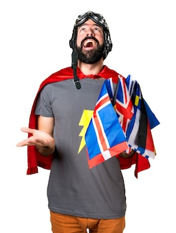 Superhero with a lot of flags pleading