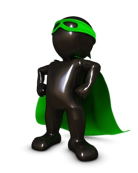 Superheroe with a green cape