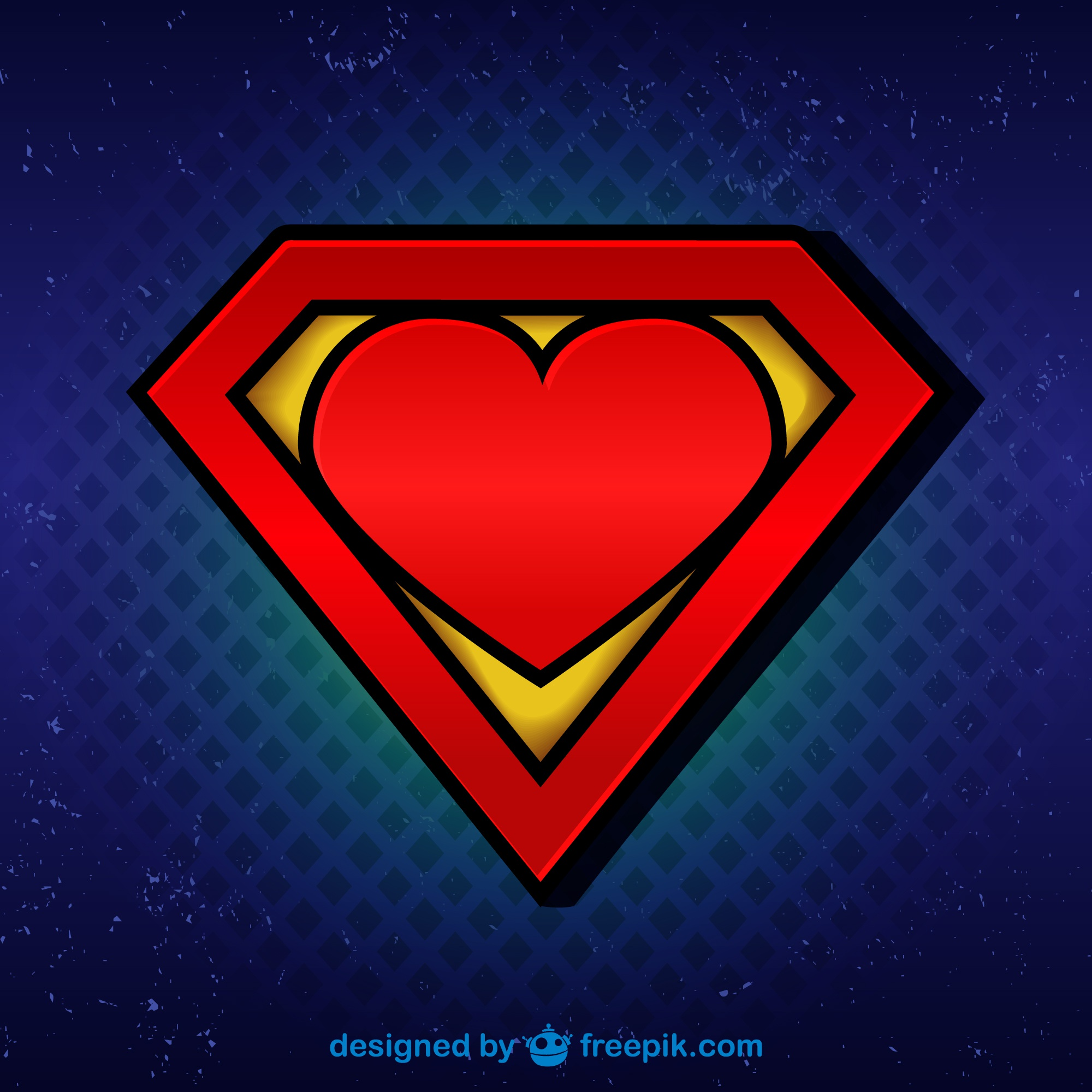 Superman logo with heart