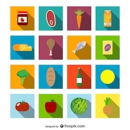 Supermarket food icons set