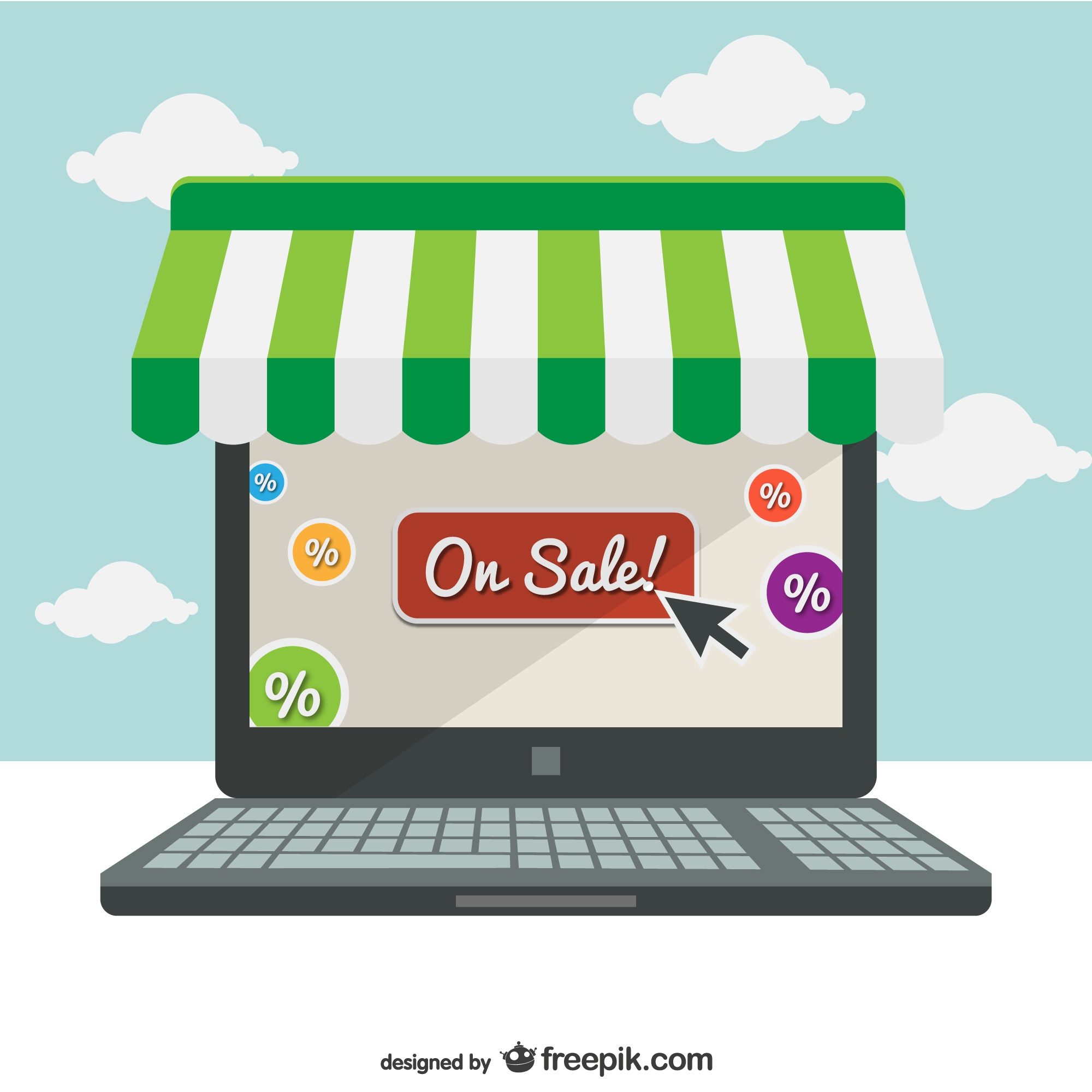 Supermarket online laptop concept illustration