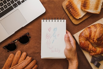 Surface with fantastic elements and father's day drawing