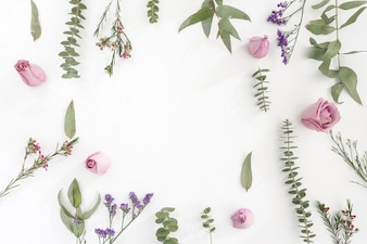 Surface with flowers and blank space
