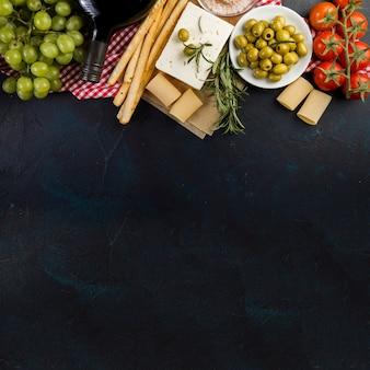 メッセージのための健康的な食材と空間と表面