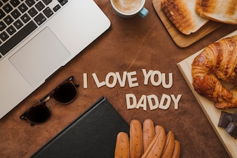 Surface with variety of objects for father's day